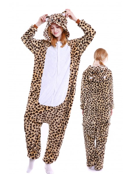 Leopard Bear Onesie Pajamas Flannel