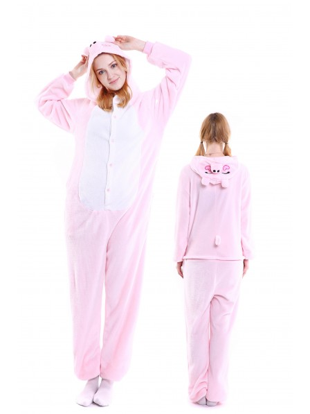 Pink Pig Onesie Pajamas Flannel