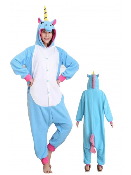 Blue Unicorn Onesie Pajamas Flannel