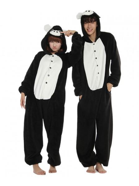 Black Pig Onesie Pajamas Flannel