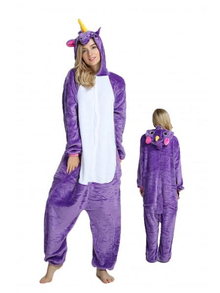 Purple Unicorn Onesie Pajamas Flannel