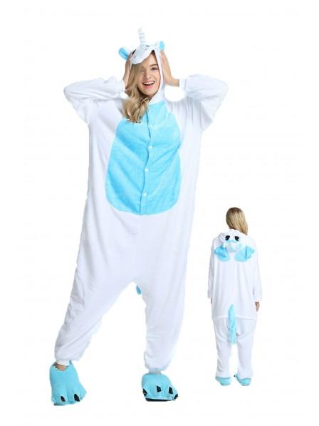 Blue Unicorn with Wings Onesie Pajamas Flannel