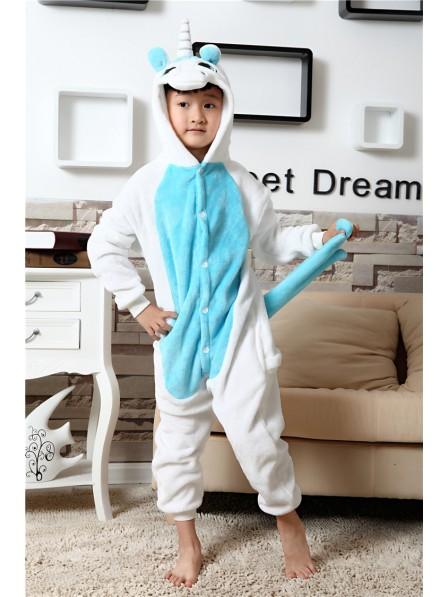 Blue Unicorn Onesie Pajamas for Kids