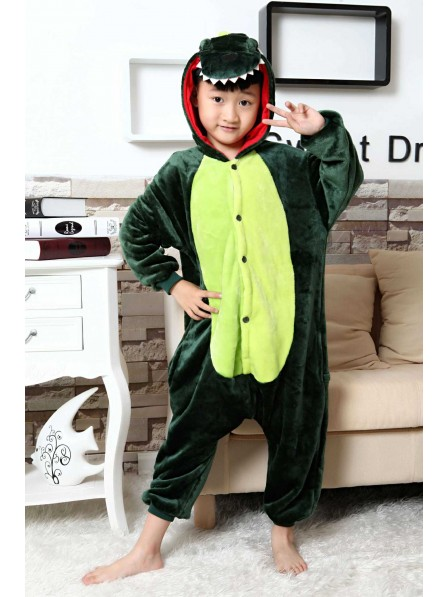 Green Dinosaur Onesie Pajamas for Kids