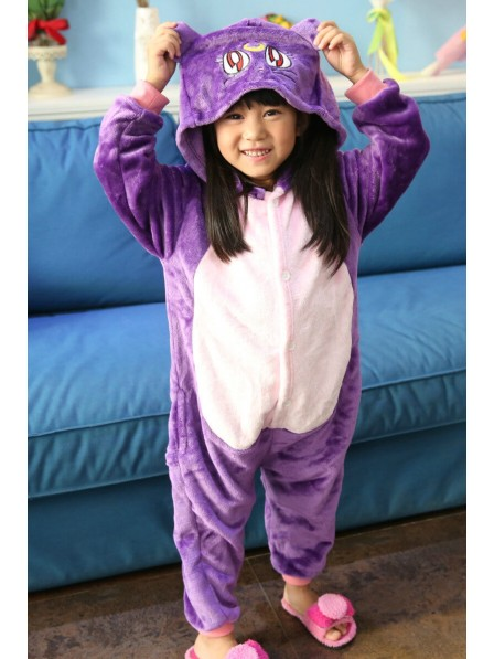 Purple Cat Onesie Pajamas for Kids