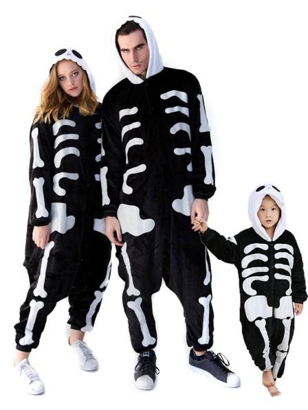 Skull Skeleton Onesie Pajamas for Adult & Kids Animal Kigurumi Costume Flannel