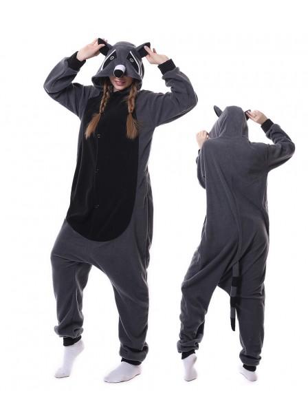 Grey Panda Raccoon Onesie Pajamas Polar Fleece