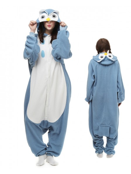 Blue Owl Onesie Pajamas Polar Fleece