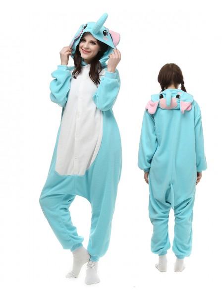 Blue Elephant Onesie Pajamas Polar Fleece