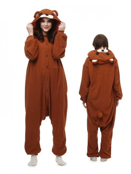 Brown Bear Onesie Pajamas Polar Fleece