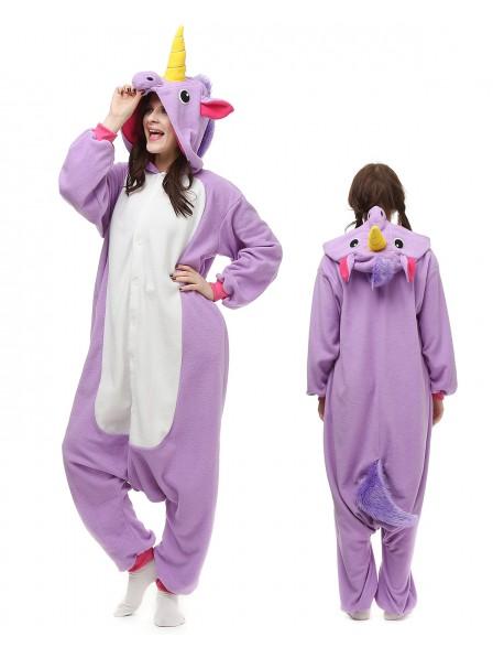 Purple Unicorn Onesie Pajamas Polar Fleece