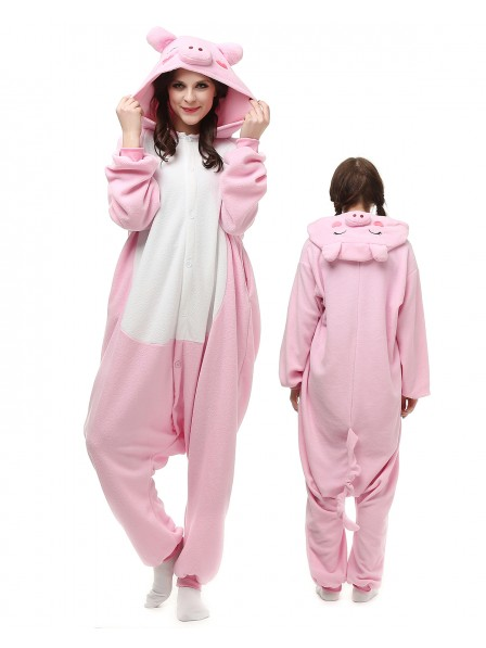 Pink Pig Onesie Pajamas Polar Fleece