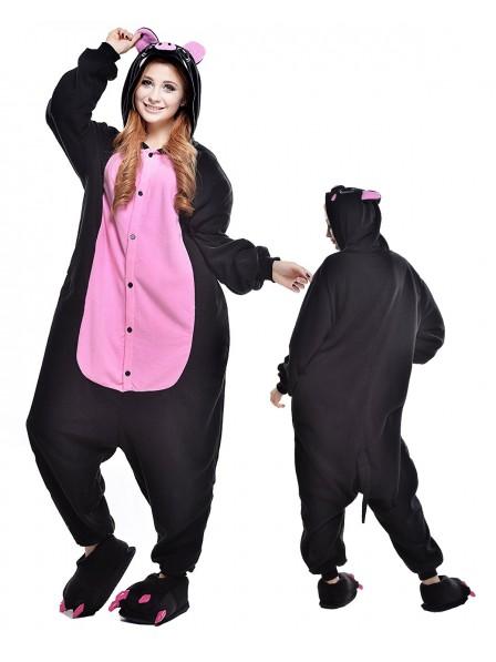 Black Pig Onesie Pajamas Polar Fleece