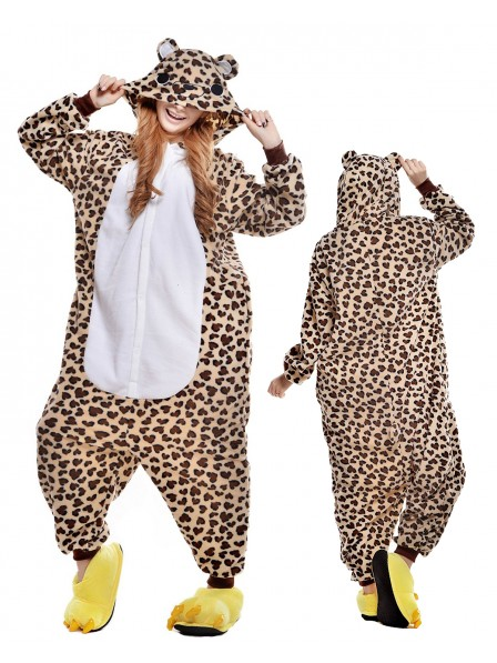 Leopard Bear Onesie Pajamas Polar Fleece