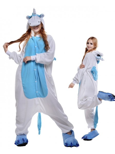 Blue Unicorn Onesie Pajamas Polar Fleece