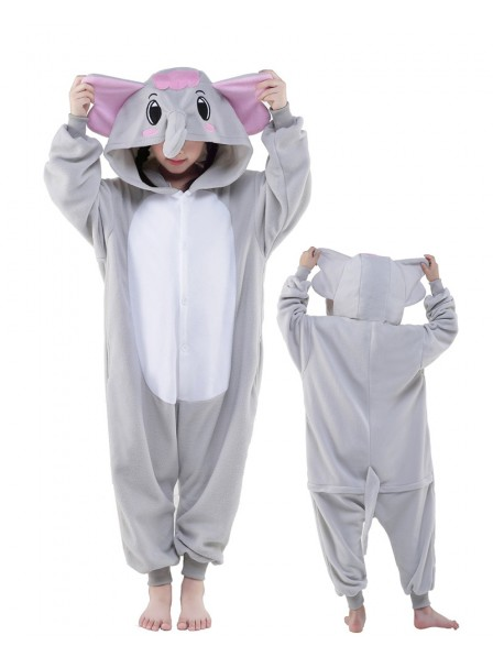 Grey Elephant Onesie Kids Polar Fleece