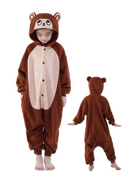 Brown Monkey Onesie Kids Polar Fleece