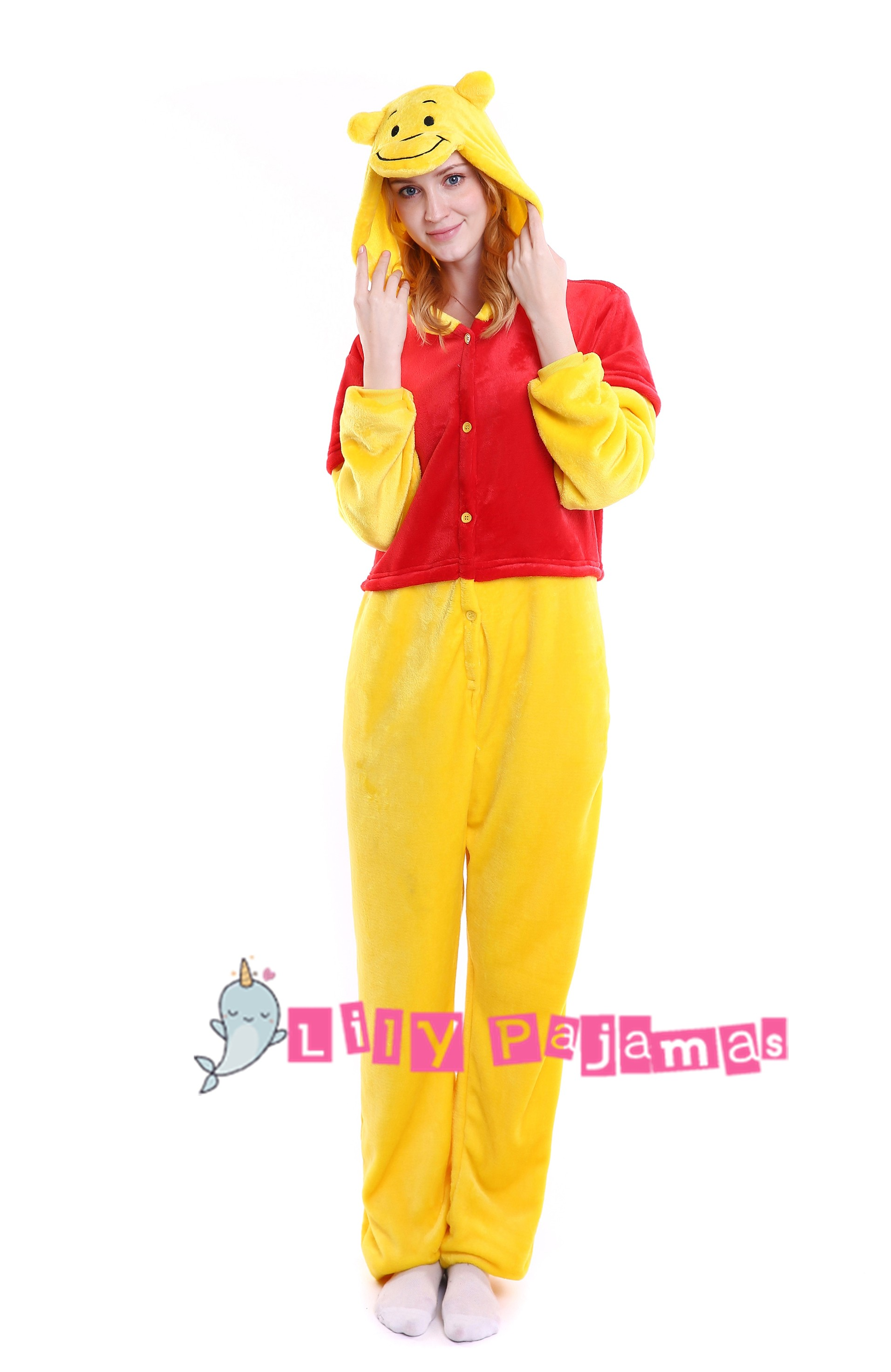 9502aad014 Winnie the Pooh Onesie Kigurumi Pajamas for Adults Animal Cosplay ...