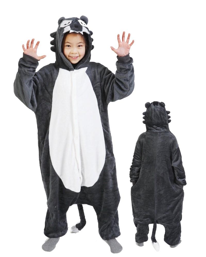 70378403798 Wolf Onesie Kigurumi Pajamas Kids For Kids | Lilypajamas.com