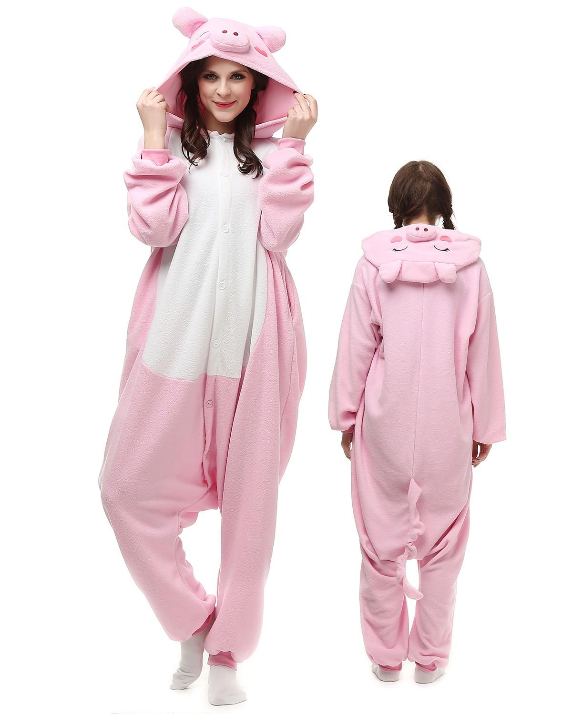 Christmas Onesies For Adults: Pink Pig Onesie Kigurumi Pajamas For Adults Polar Fleece